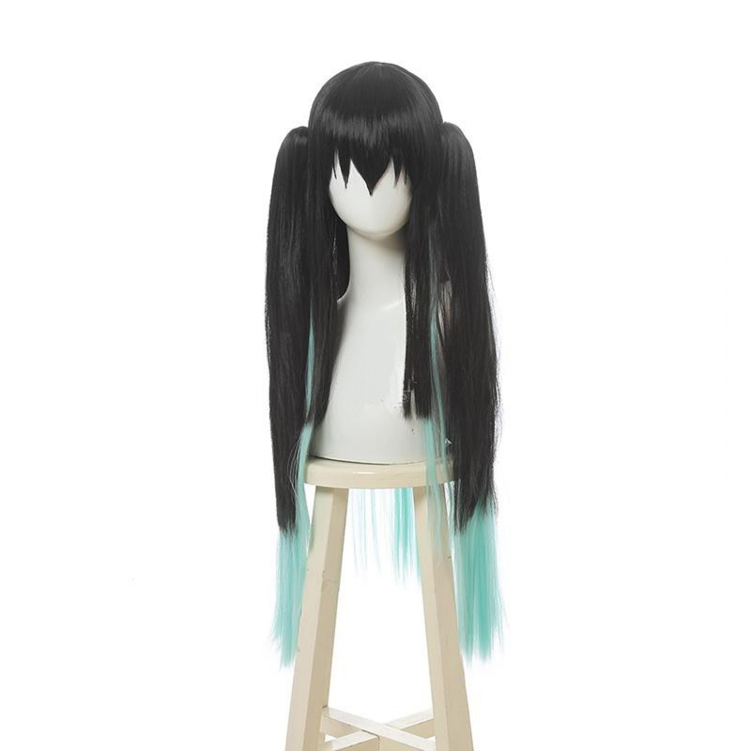 Demon Slayer Antarcticite Green Mixed Black Anime Cosplay Wig