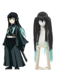 Demon Slayer Antarcticite Green Mixed Black Anime Cosplay Wig