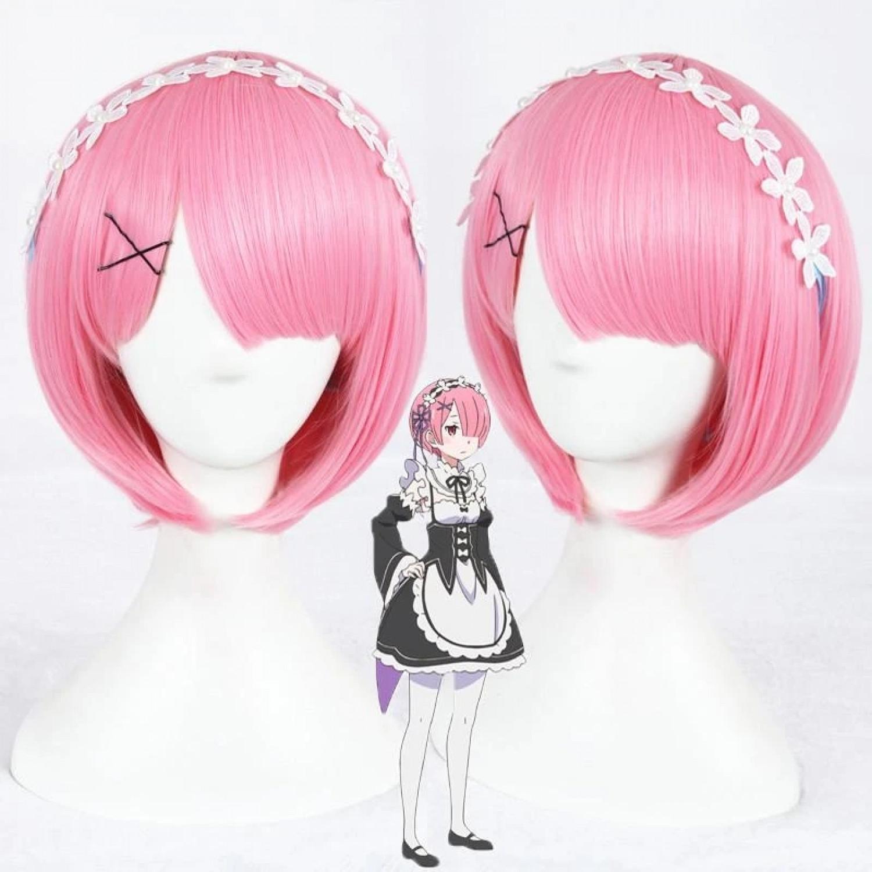 Zero kara Hajimeru Isekai Seikatsu Ram Pink Short Cosplay Wig