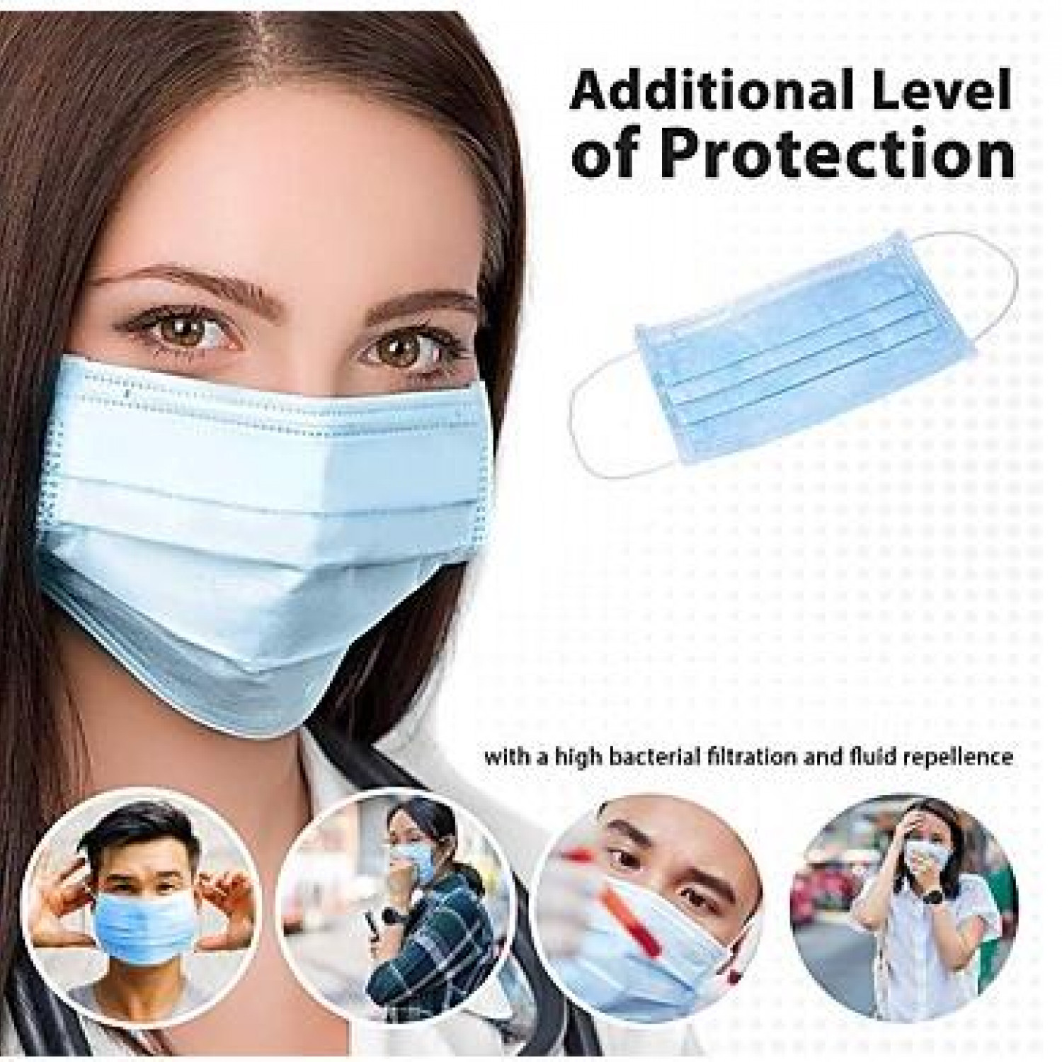 50PCS 3-layer Disposable Masks Safe Breathable Mouth Face Mask