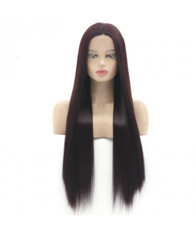 Red Wine Long Straight Synthetic Hair Lace Front Wig Middle Part Bangs