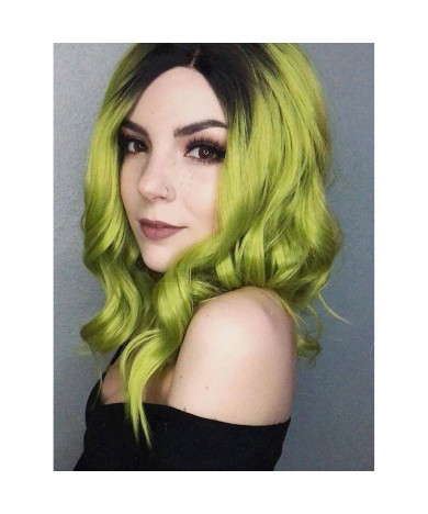 Short Bob Ash Green Synthetic Lace Front Ombre Wig 14 Inch