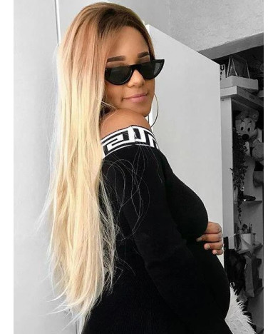 Long Straight Ombre Blonde Synthetic Lace Front Wigs for Women