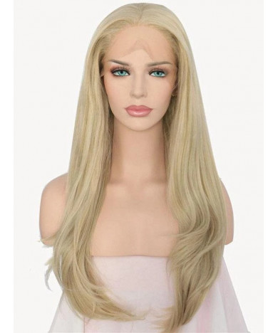 Long Blonde Wavy Synthetic Lace Front Wig with Body Hair