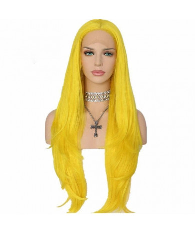Best Long Yellow Wig Wavy Synthetic Lace Front  Wigs Cosplay Wig
