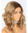 Cheap Short Wavy Ombre Brown Blonde  Synthetic Lace Front Wigs Ombre Wig for Women