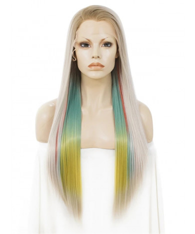 Long Colorful Synthetic Lace Front Wigs Rainbow Cosstume Wig 24 Inch