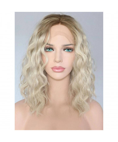 Shoulder Length Wavy Ombre Blonde Synthetic Lace Front Wig 14 Inch