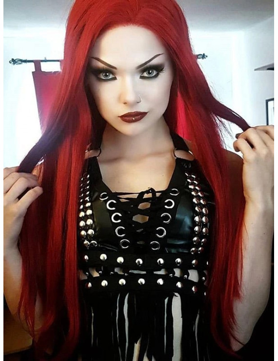 Cheap Long Red Synthetic Lace Front Wig Cosplay Wigs 24 inch