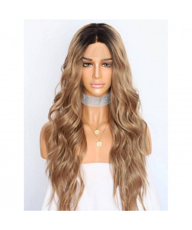 Long Wavy Ombre Brown Synthetic Lace Front Ombre Wig 24 Inch