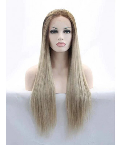 Long Straight Ombre Blonde Synthetic Lace Front Wigs 24 Inch Wig