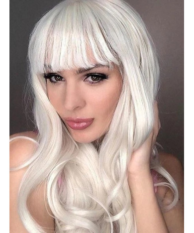 Long Blonde Wavy Synthetic Lace Front Wigs with Bangs 24 Inch Blonde Wig
