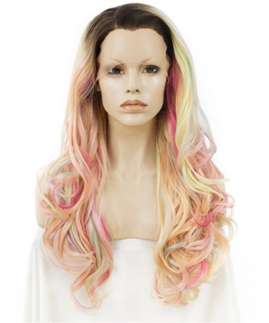 Long Wavy Colorful Synthetic Wigs rainbow Lace Front Wigs 24 Inch