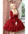 Wine Red long sleeve Wine Red Flounced Classic Lolita Dress