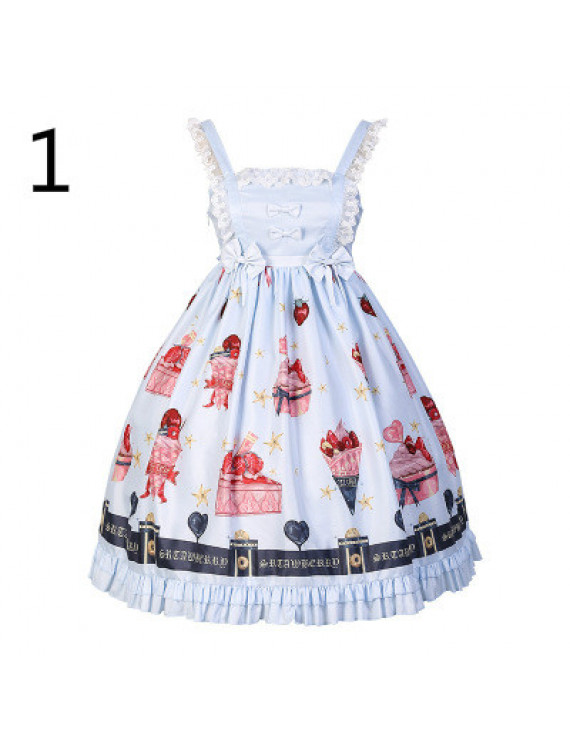 2020 strawberry dessert lolita girl Japanese soft sister printed dress
