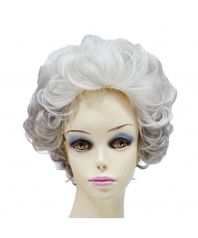 Two Color Grey Short Curly Synthetic Hair Wig for Women