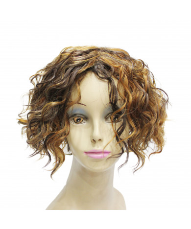 Mixed Color Short Layered Curly Synthetic Hair Capless Wig