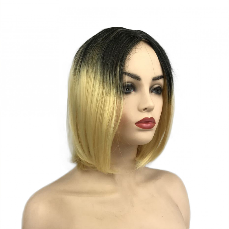 Short Straight Dark Hair Root Golden Bob Synthetic Hair Wig