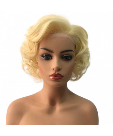 Yellow Short Curly Synthetic Hair Lace Front Wig for Women