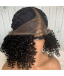 Black Short Afro Curly Synthetic Hair Lace Front Wig