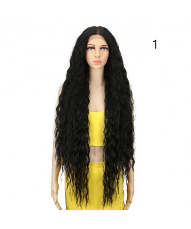 42 Inch Cosplay Synthetic Lace Front Wig Long Curly Ombre Blonde Wig For Women