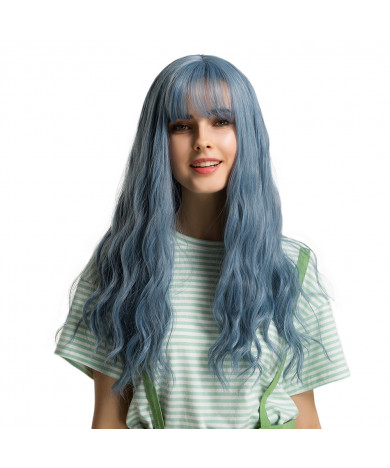 Fashion 30 inch long curly hair synthetic lace wig with Air Bangs