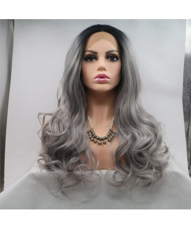 Grey Long Wavy Synthetic Hair Lace Front Wig