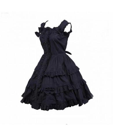 Black Gothic Lolita Dress Women's Dress Cosplay Punk Lolita Dress Satin Sleeveless Knee Length