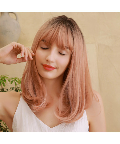 Shoulder length bob cut ombre hair synthetic hair wig for women costume wigs