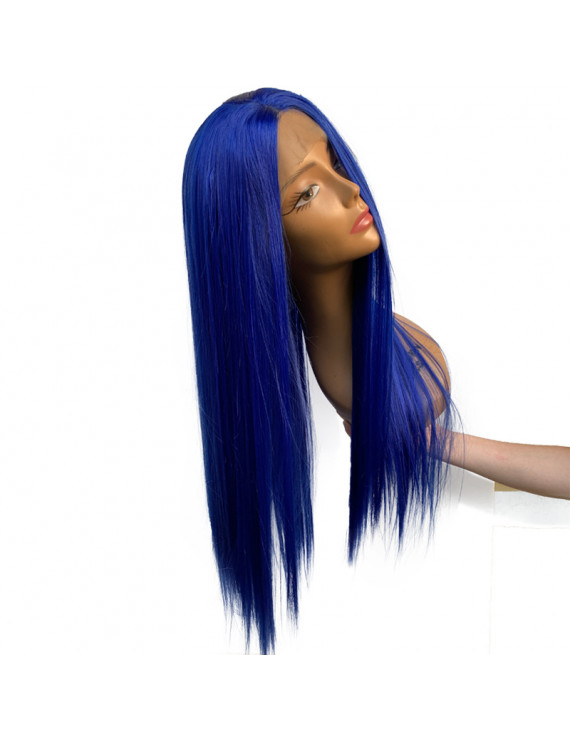 24 inch long Straight Blue color Synthetic Lace Wig