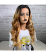 24 inch long curly hair Piano color pick dyeing Synthetic Lace Wig