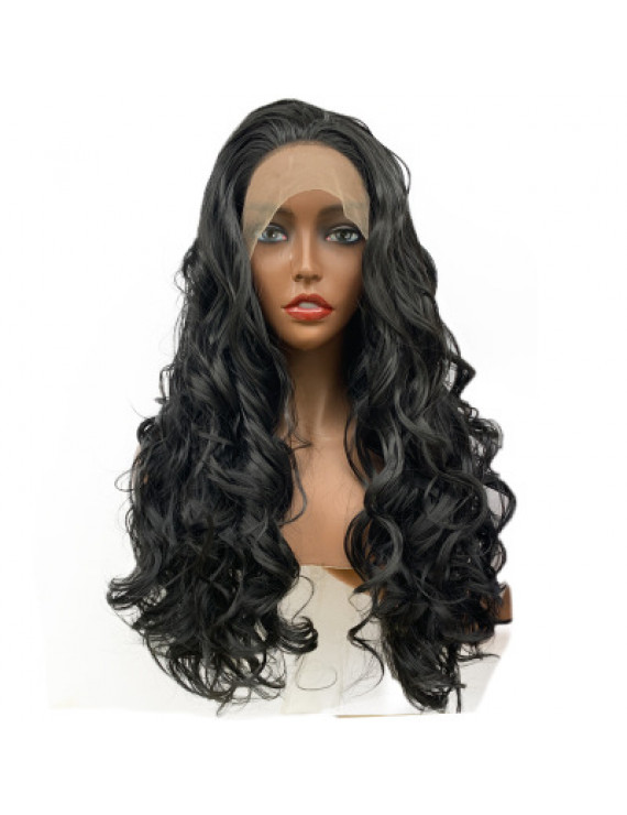 24 inch long curly Black Synthetic Lace Fronta Wig Costume wigs