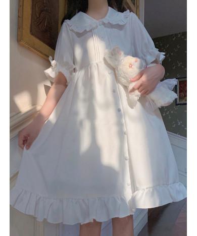 Sweet Short Sleeve Chiffon Lolita OP Dress  White One Piece Dresses