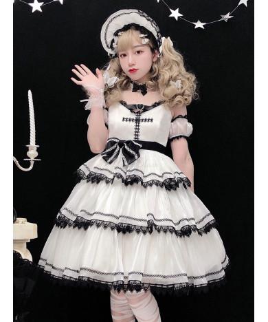 Lolita Jumper Skirt Gothic JSK Lolita Dress White Sleeveless Bows Dress
