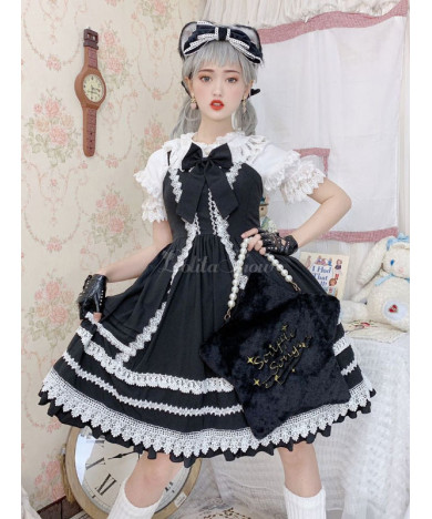 Sweet Lolita Dress Black Sleeveless Ruffles Two-Tone Dress