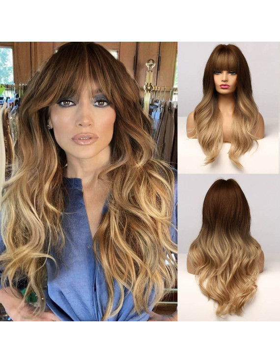 Natural Ombre Long Curly Women Costume Wig + Wig Cap