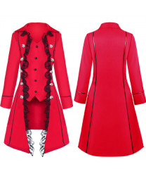 Medieval solid color long sleeve three row button women's coat irregular top women's wear