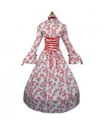 Long sleeved printed court evening dress big trumpet sleeve dress