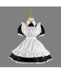 Maid outfit cosplay restaurant cafe work clothes long skirt black and white maid outfit