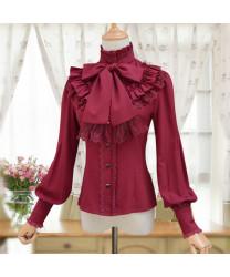 Lolita Dress Retro Stand Collar Lace Long Sleeve Shirt Everyday Chiffon Shirt