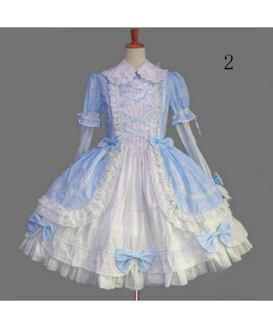 Gothic Lolita Dress Punk Lolita Dress Satin Long Sleeve Knee Length