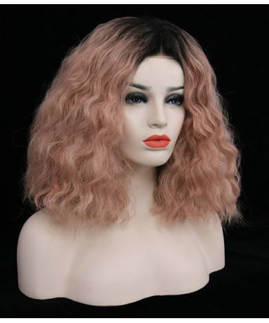Pink Shoulder Length Wavy Synthetic Lace Front Wig 13 Inch
