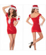 Special Red  Christmas Costume Low Shoulder Dress with Hat for Women