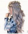 Cool Bright Silver Long Wavy Synthetic Hair Lace Front Wig 24 Inch