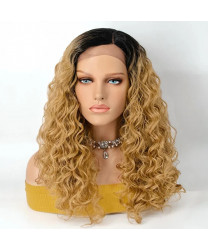 22 Inch 1B/27 Ombre Body Wavy Middle Part Lace Front Wig Synthetic Hair Wigs