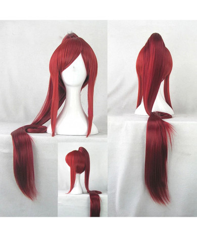 Seraph of the end Mito Jujo Dark Red Long Ponytail Heat Resistant Cosplay Wig+Wig Cap