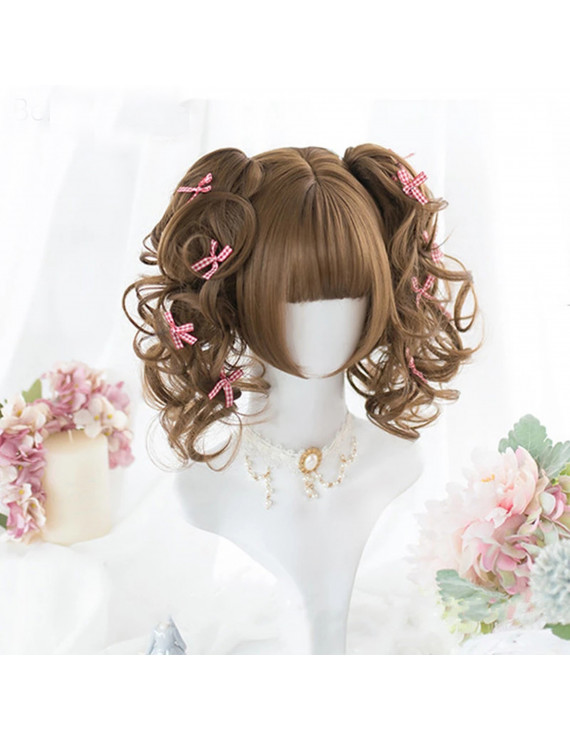 Lolita Wig Double Curved ponytail Cute girl Hairwear Wig + Wig Cap
