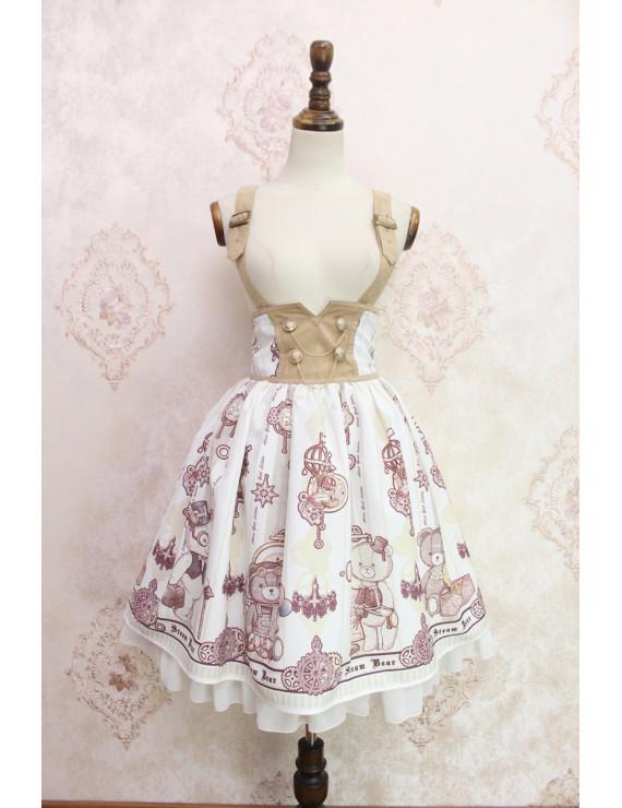 Alice girl original new lolita steam bear gear handle ruffled double-breasted waist strap skirt