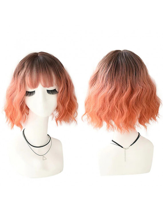 Synthetic Blend Wig Short Wave Bob Orange Lolita Wig With Bangs