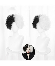 Disney Cruella de Vil Black White Short Curly Cosplay Wig